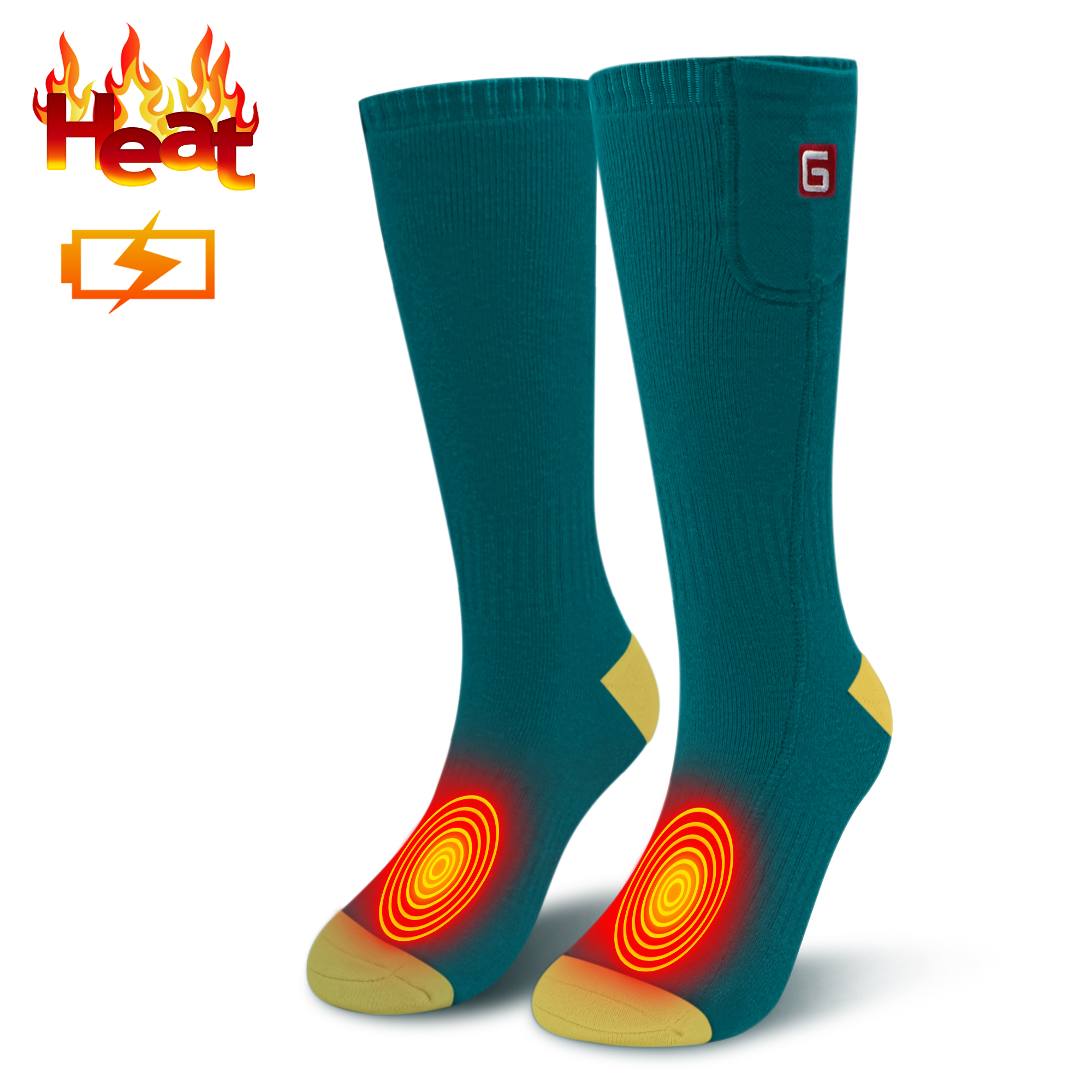 Heated Clothing Electric Clothing Heated Socks Heated Gloves >> 3 7v Electric Heated Socks Rechargeable Battery Powered Heating Sox Men Women Winter Warm Socks Chronically Cold Feet Green Yellow One Size